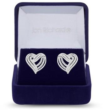 Jon Richard Jewellery Jon Richard Rhodium Plated Clear Cubic Zirconia Heart Stud Earring