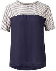 Ya-Ya Material Mix Striped T Shirt - L - White/Blue
