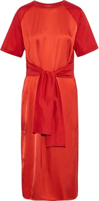 Nina Ricci Tie-front Satin And Cotton-jersey Midi Dress