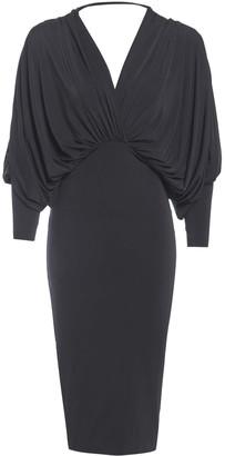 Sarvin Lea Black Plunge Front & Back Batwing Dress
