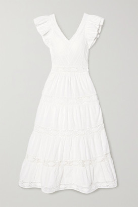 Sea Lea Crochet-trimmed Ruffled Broderie Anglaise Cotton Maxi Dress - White