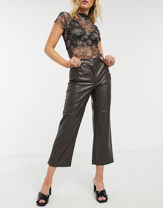 Only faux leather pants in brown
