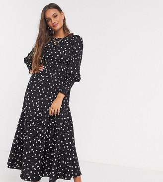 Vero Moda Petite maxi dress with deep cuffs in black ditsy floral