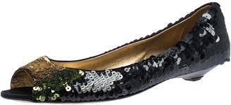 Prada Black Sequin Peep Top Ballet Flats Size 37.5