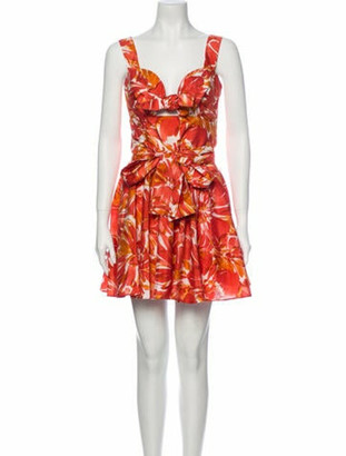 Alexis Floral Print Mini Dress Orange