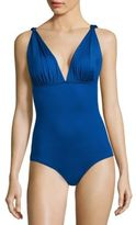 Carmen Marc Valvo Classic Solids Draped One-Piece Swimsuit