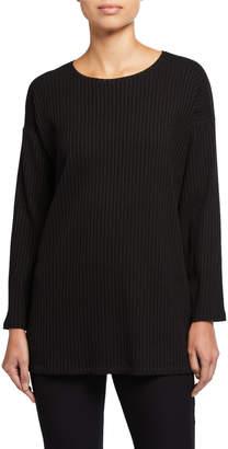 Eileen Fisher Plus Size Crewneck Angled Bracelet-Sleeve Side-Slit Rib Tunic