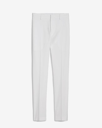 Express Extra Slim White Solid Cotton-Blend Suit Pant