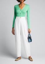 Ralph Lauren Fitted Silk Cardigan Sweater, Green