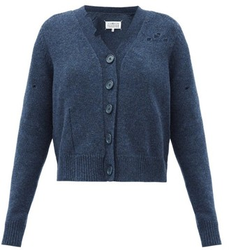 Maison Margiela Distressed Buttoned Wool Cardigan - Navy