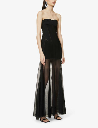 Thierry Mugler Sleeveless stretch-knit and mesh gown