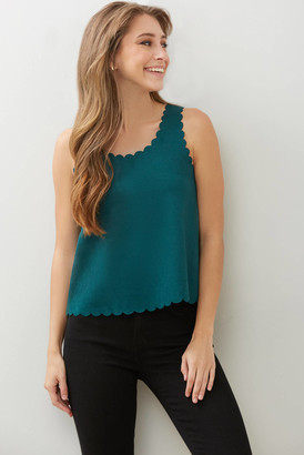 Abbeline Suede Scallop Tank Top Green XS