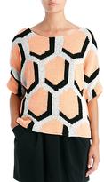Diane von Furstenberg Cici Hexagon Sweater In Apricot/black/grey