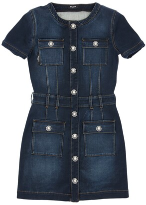 Balmain Stretch Cotton Denim Dress