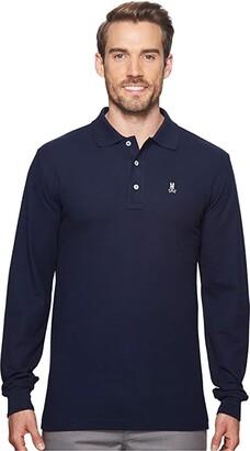 Psycho Bunny Long Sleeve Classic Polo (Black) Men's Long Sleeve Pullover