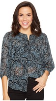 Lucky Brand Black Paisley Peasant Top Women's Clothing