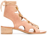 See by Chloe cut-out laced sandals - women - Leather/Calf Suede - 37
