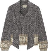 Sea Pleated printed silk-satin blouse