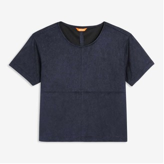 Joe Fresh Women's Faux Suede Tee, JF Midnight Blue (Size M)
