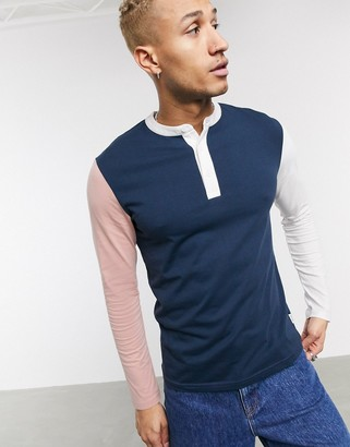 ONLY & SONS long sleeve grandad collar color block top in navy