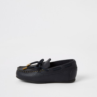 River Island Mini boys navy faux leather driver shoes