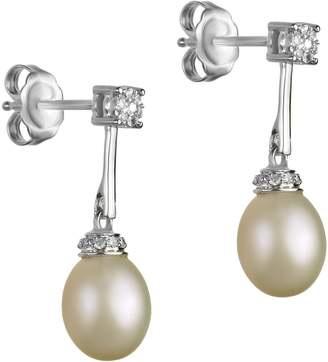 Off-White Fine Jewellery 7MM-7.5MM Oval Freshwater Pearl and Sterling Silver Drop Earrings with 0.08 CT. T.W. Diamonds