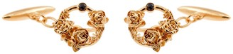 Lee Renee Black Diamond Rose Halo Cufflinks Rose Gold