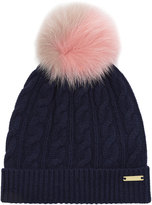 Burberry Fur pompom wool and cashmere-blend hat