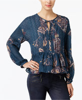 William Rast Devon Embroidered Printed Peasant Top