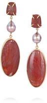 Melissa Joy Manning 14-karat gold, petrified wood, pearl and druzy earrings