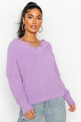 boohoo Petite Distressed Raw Edge V Neck Sweater