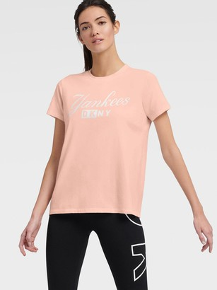 DKNY Women's Yankees Logo Tee - Rose Gold - Size XS