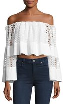 KENDALL + KYLIE Off-the-Shoulder Circle Lace Crop Top, White