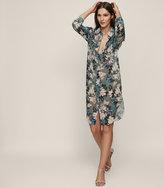 Reiss Pandora - Floral-print Shirt Dress in Green, Womens