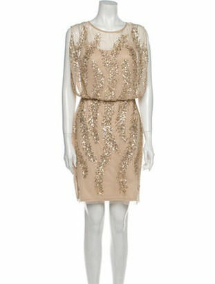 Aidan Mattox Scoop Neck Mini Dress Gold