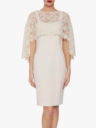 Gina Bacconi Catriona Crepe Dress With Lace Overcape