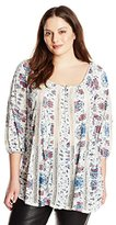 Lucky Brand Women's Plus-Size Printed Knit and Lace Top