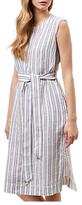 Jaeger Striped Tie Waist Linen Dress, White