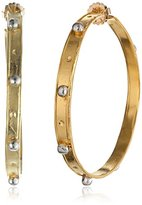 Devon Leigh Large Gold-Dipped Hoop Earrings with Rhodium Bullets