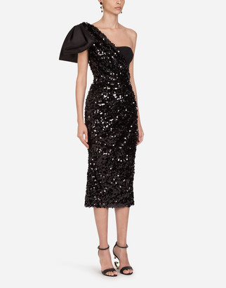Dolce & Gabbana Sequined Longuette Dress With Bow