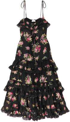 Zimmermann Honour Lace-trimmed Floral-print Silk Crepe De Chine Midi Dress