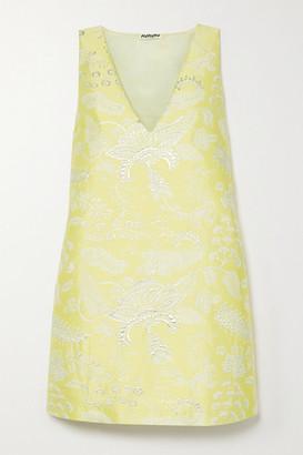 AVAVAV Metallic Floral-jacquard Mini Dress - Yellow