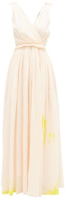 Vika Gazinskaya Painted Gathered Cotton-voile Maxi Dress - Light Pink