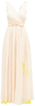 Vika Gazinskaya Painted Gathered Cotton-voile Maxi Dress - Womens - Light Pink