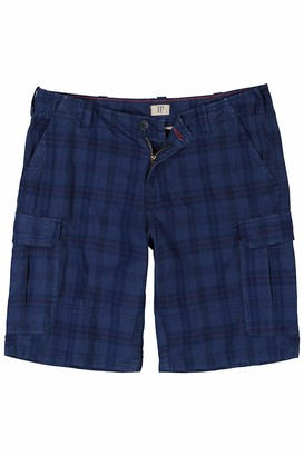 JP 1880 Men's Big & Tall Plaid Cargo Shorts Blue Denim Multi 58 720079 92-58