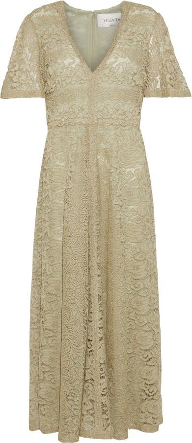 Valentino Metallic Lace Midi Dress