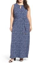 MICHAEL Michael Kors Plus Size Women's Clara Belted Keyhole Maxi Dress