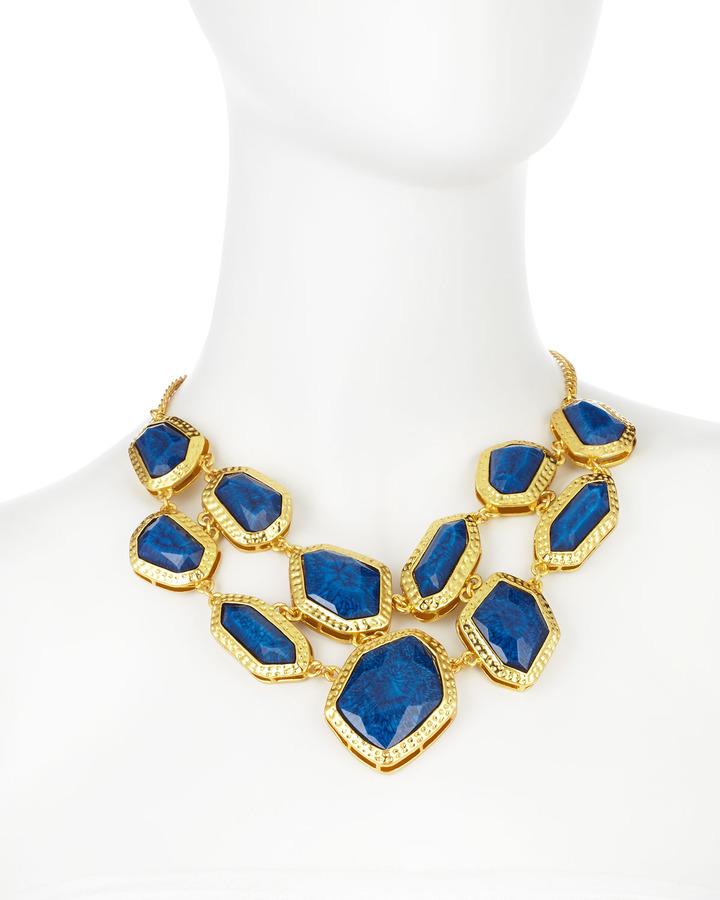 Amrita Singh Two-Row Bib Necklace, Lapis