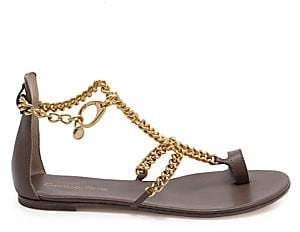Gianvito Rossi Women's Leather Chain Toe-Loop Flat Sandals