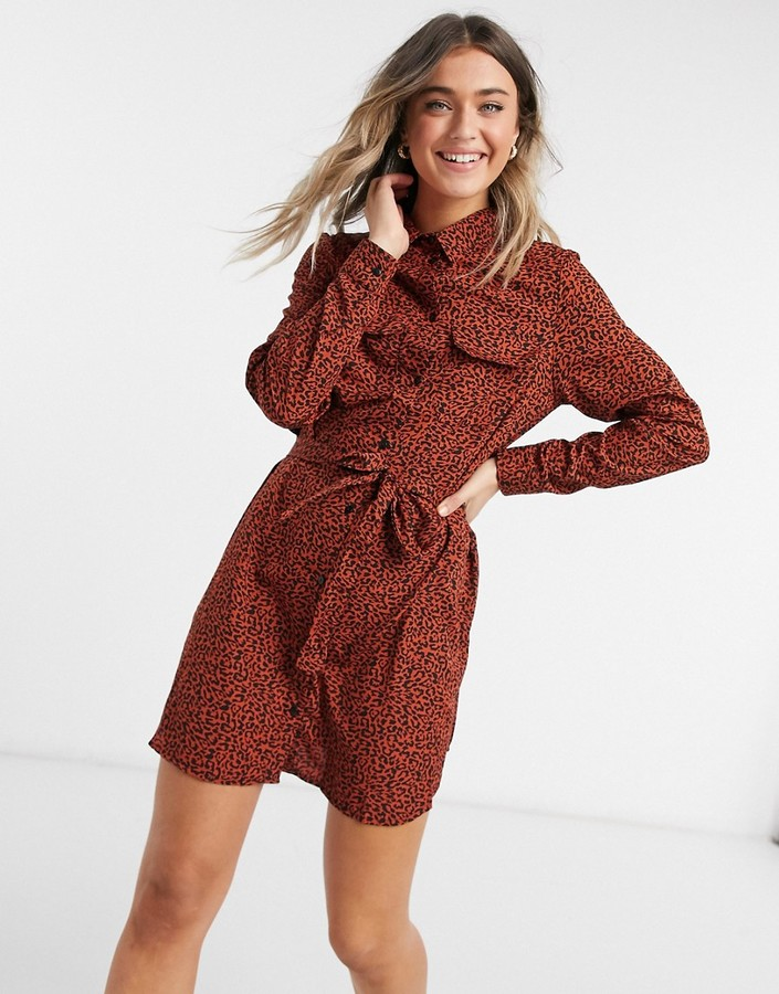 Brave Soul tie front shirt dress in rust